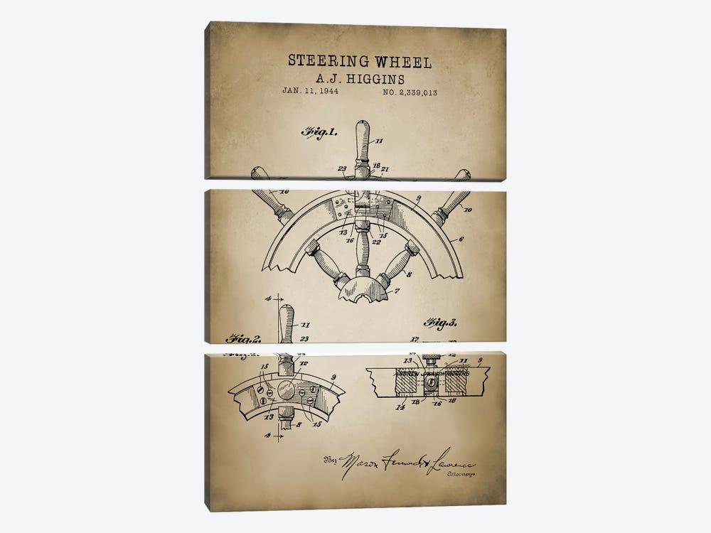 Nautical, Steering Wheel by PatentPrintStore 3-piece Canvas Art