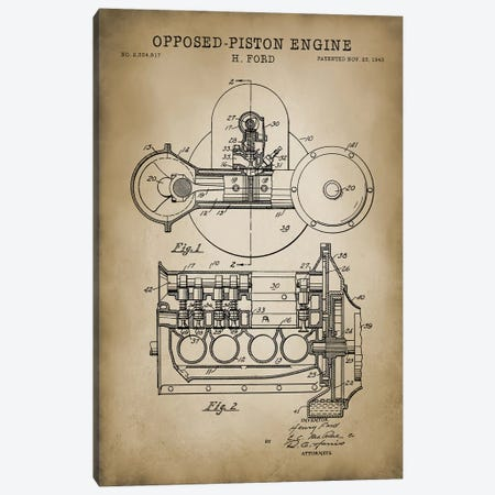 Opposed-Piston Engine Canvas Print #PAT99} by PatentPrintStore Art Print