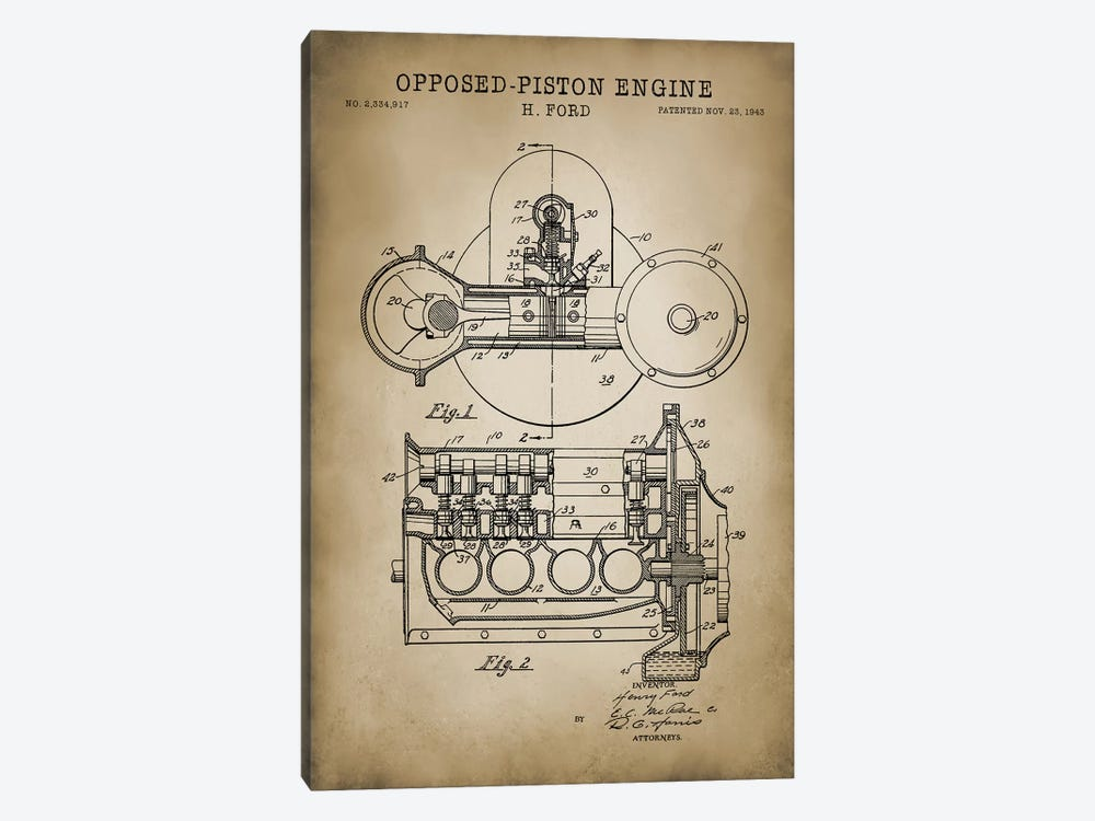 Opposed-Piston Engine by PatentPrintStore 1-piece Canvas Art