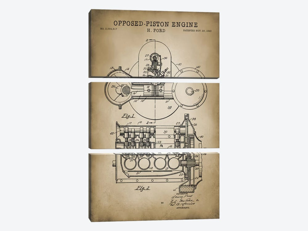 Opposed-Piston Engine by PatentPrintStore 3-piece Canvas Art