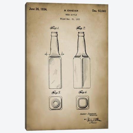 Beer Bottle Canvas Print #PAT9} by PatentPrintStore Canvas Artwork
