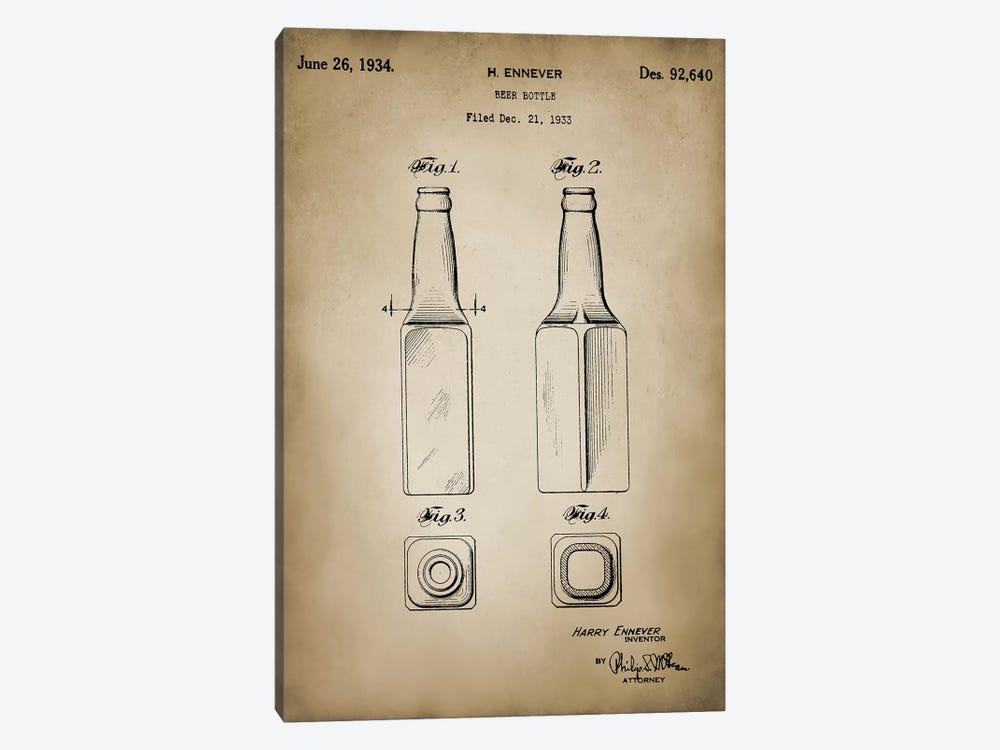 Beer Bottle by PatentPrintStore 1-piece Canvas Art Print