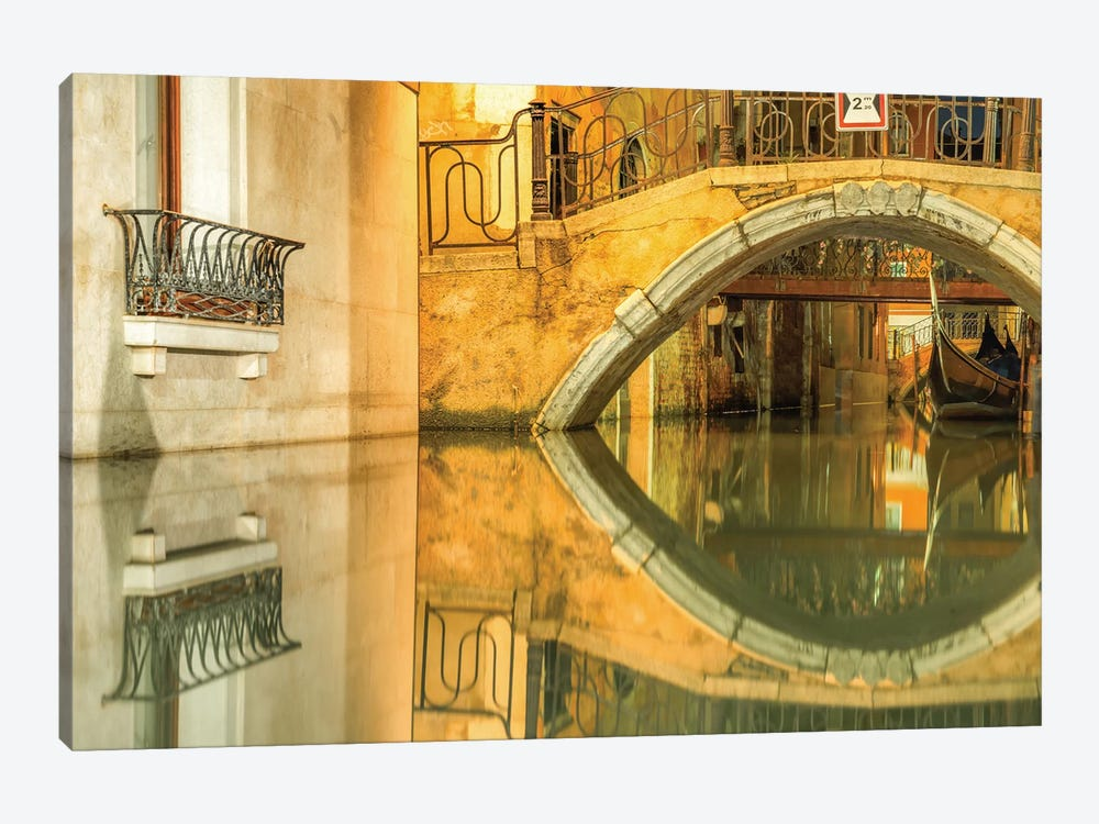 Venice, Italy, Canal Reflection by Mark Paulda 1-piece Canvas Print