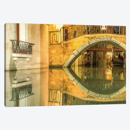 Venice, Italy, Canal Reflection Canvas Print #PAU102} by Mark Paulda Canvas Artwork