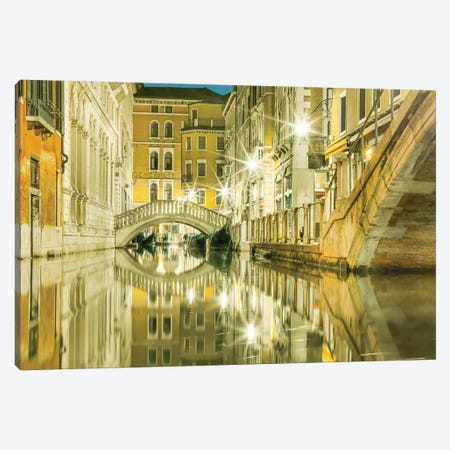 Venice, Italy, Canal Reflections Canvas Print #PAU103} by Mark Paulda Canvas Art
