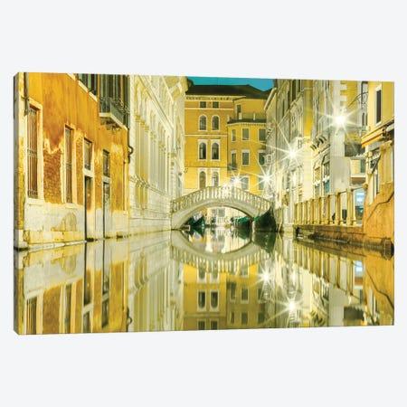 Venice, Italy, Yellow Reflections Canvas Print #PAU104} by Mark Paulda Canvas Art Print