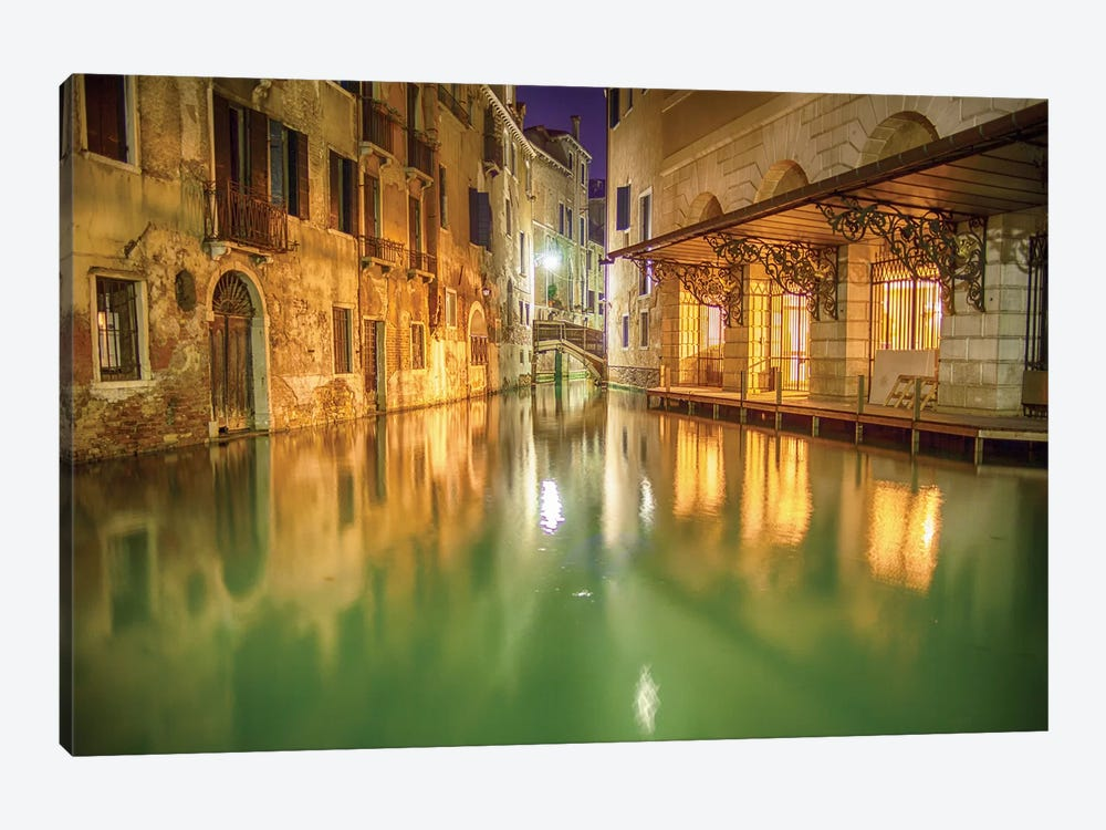 Venice, Italy, Glow On The Canal 1-piece Canvas Art