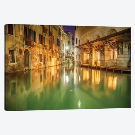 Venice, Italy, Glow On The Canal Canvas Print #PAU107} by Mark Paulda Canvas Print