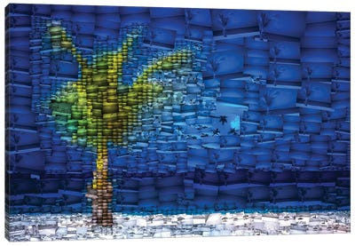 Aruba Palm - Mosaic Canvas Art Print