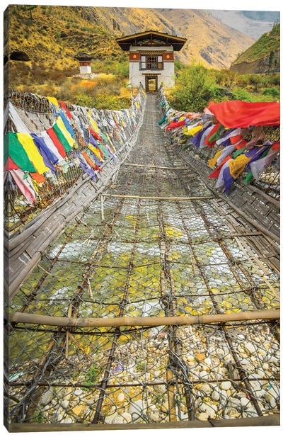 Bhutan Iron Bridge With Prayer Flags Canvas Art Print