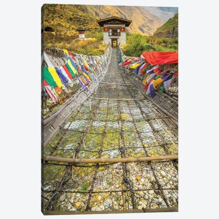Bhutan Iron Bridge With Prayer Flags Canvas Print #PAU132} by Mark Paulda Canvas Art Print