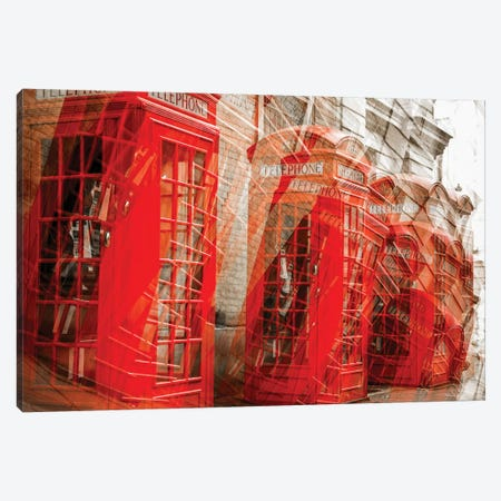 Falling Red Phone Boxes Canvas Print #PAU168} by Mark Paulda Canvas Artwork