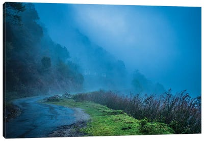 Foggy Himalaya Mountain Road Canvas Art Print