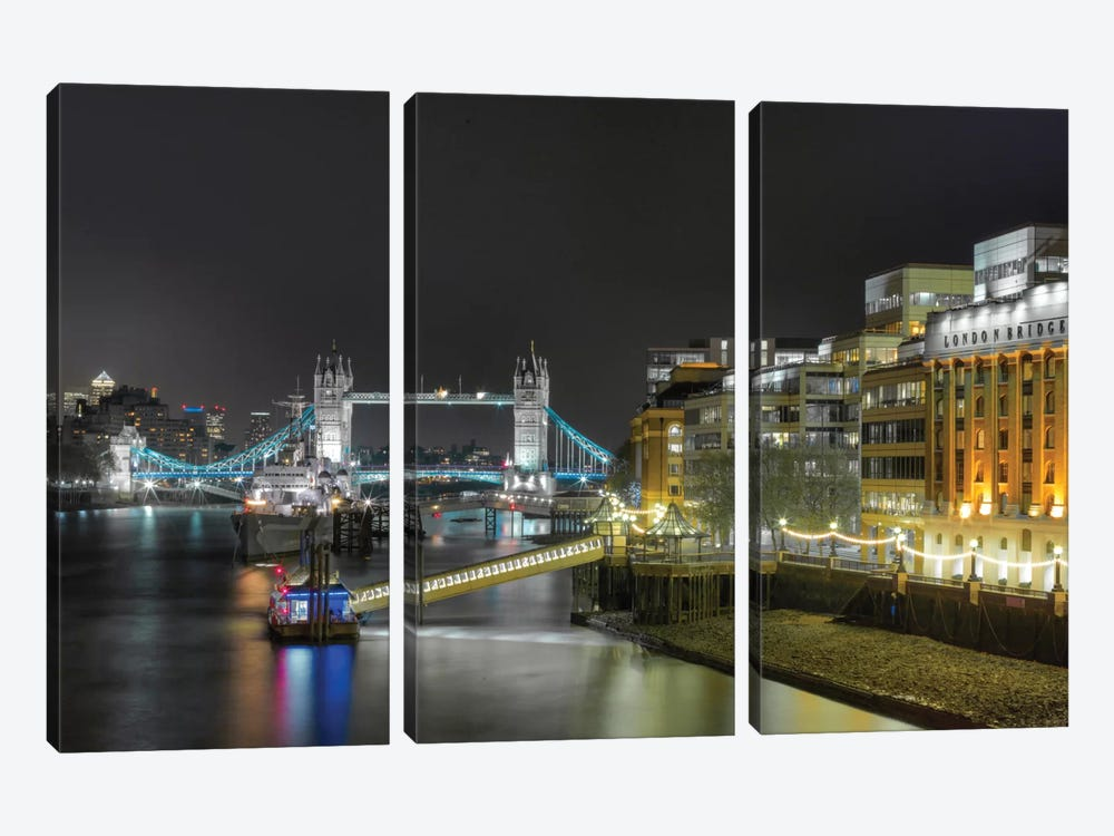 Tower Bridge From Afar, London, England, United Kingdom by Mark Paulda 3-piece Canvas Art