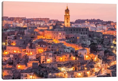A Night In Matera Italy Canvas Art Print