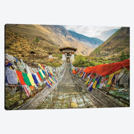 Bhutan Iron Bridge And Prayer Flags Canvas Print #PAU39} by Mark Paulda Canvas Wall Art