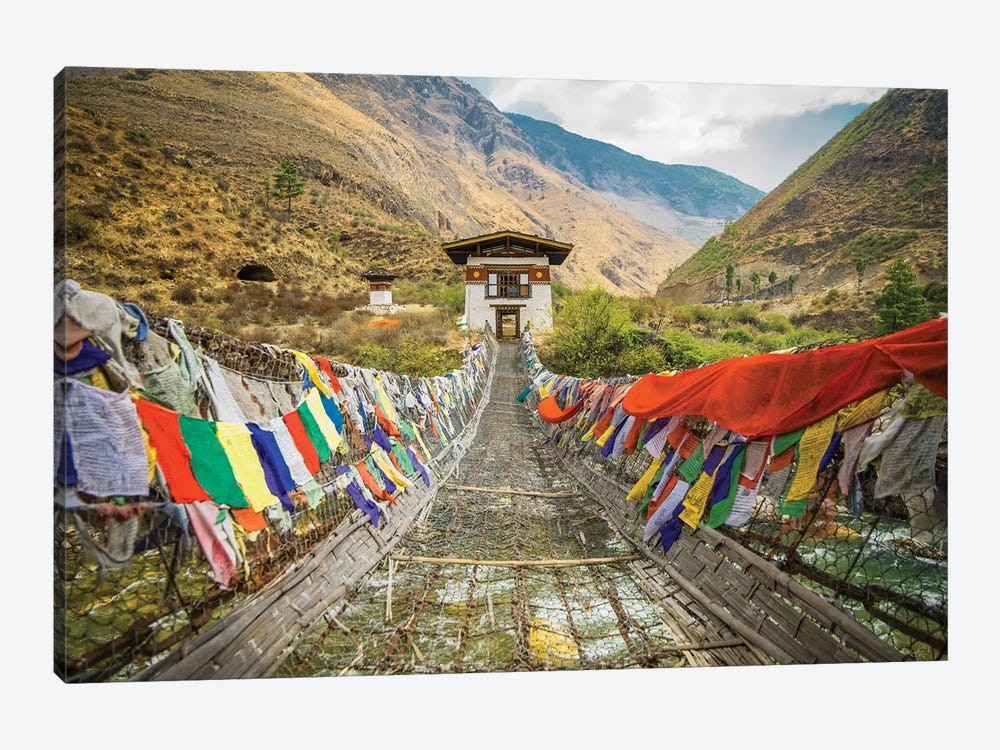 Bhutan Iron Bridge And Prayer Flags by Mark Paulda 1-piece Canvas Print