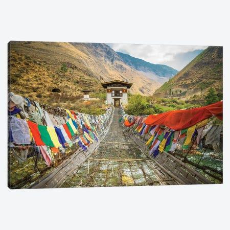Bhutan Iron Bridge And Prayer Flags Canvas Print #PAU39} by Mark Paulda Canvas Wall Art