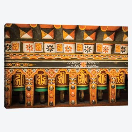 Bhutan Prayer Wheels Paro Dzong Canvas Print #PAU40} by Mark Paulda Art Print