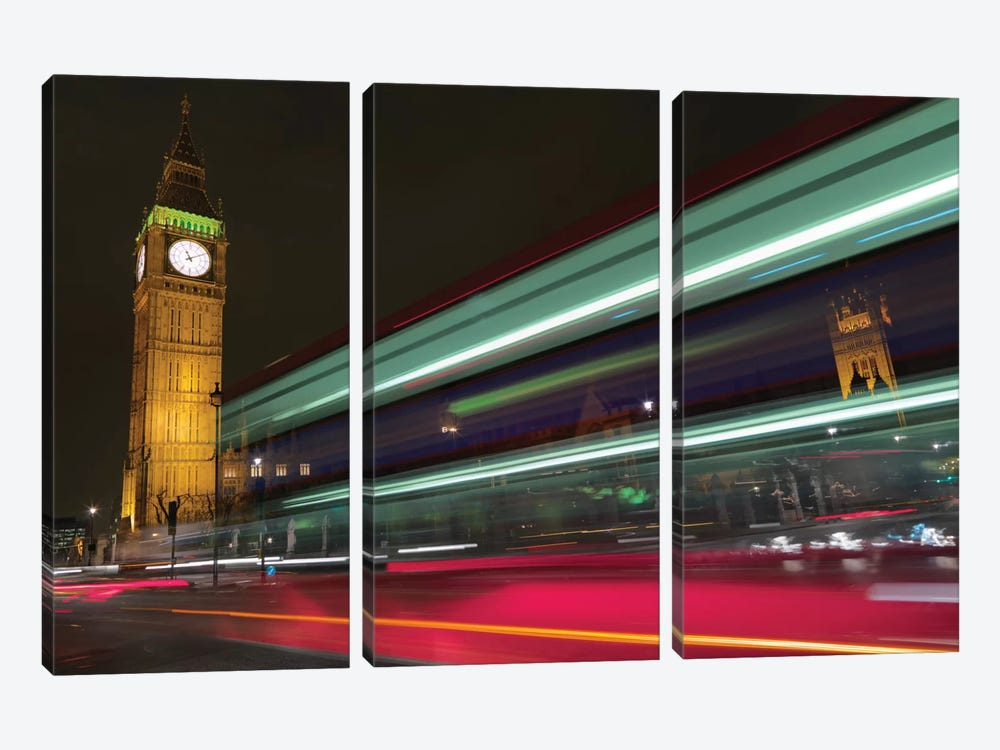 Big Ben At Night, London, England, United Kingdom 3-piece Canvas Print