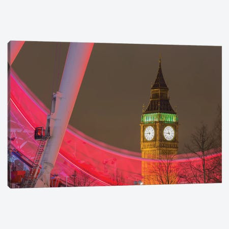 Big Ben And London Eye I Canvas Print #PAU51} by Mark Paulda Canvas Artwork