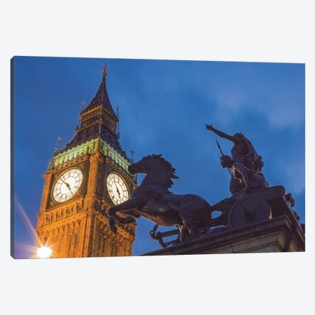 Big Ben With Side View Of Boadicea And Her Daughters Sculptoral Group, London, England, United Kingdom Canvas Print #PAU5} by Mark Paulda Canvas Wall Art