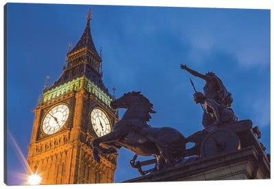Big Ben With Side View Of Boadicea And Her Daughters Sculptoral Group, London, England, United Kingdom Canvas Art Print