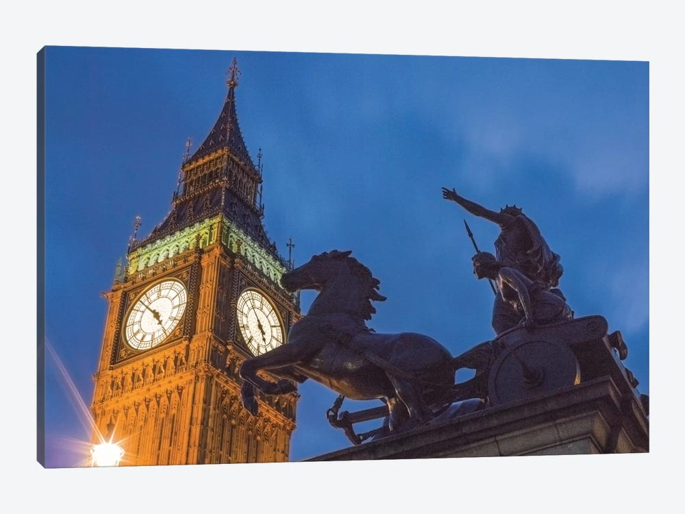 Big Ben With Side View Of Boadicea And Her Daughters Sculptoral Group, London, England, United Kingdom by Mark Paulda 1-piece Canvas Artwork
