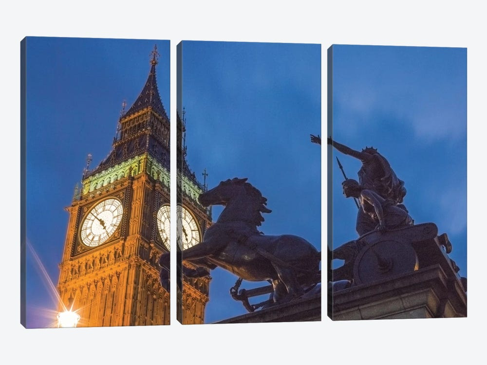 Big Ben With Side View Of Boadicea And Her Daughters Sculptoral Group, London, England, United Kingdom by Mark Paulda 3-piece Canvas Art