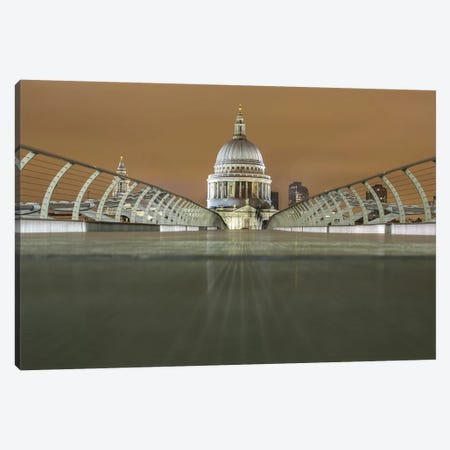 St. Paul's Cathedral And Millennium Bridge, London Canvas Print #PAU60} by Mark Paulda Canvas Print