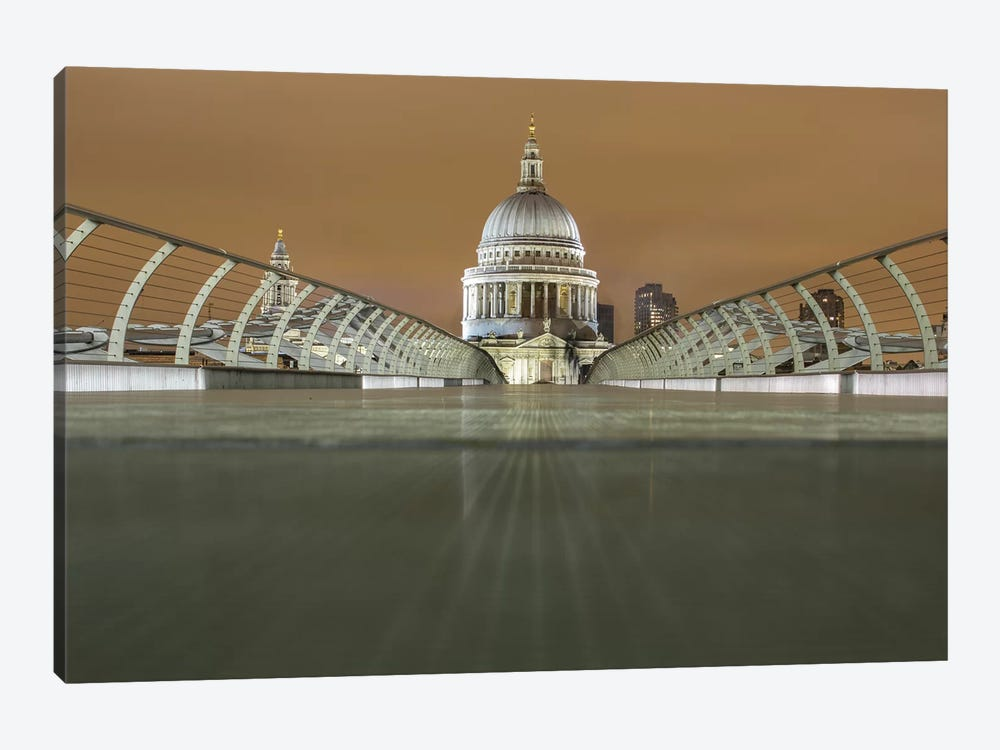 St. Paul's Cathedral And Millennium Bridge, London by Mark Paulda 1-piece Canvas Art Print
