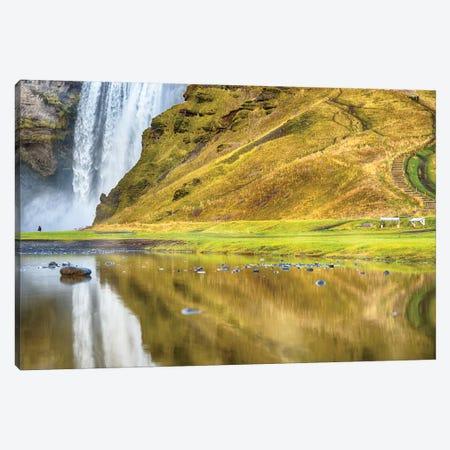 Iceland Skogafoss Reflections Canvas Print #PAU69} by Mark Paulda Art Print