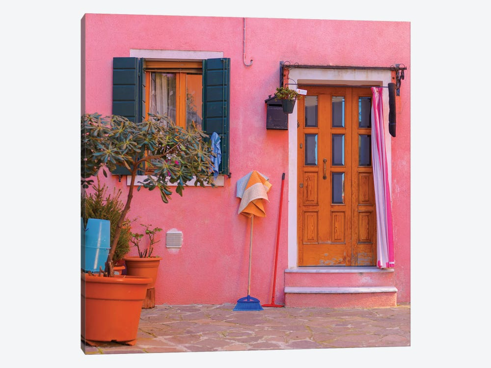 Burano, Italy, Pink House 1-piece Canvas Artwork