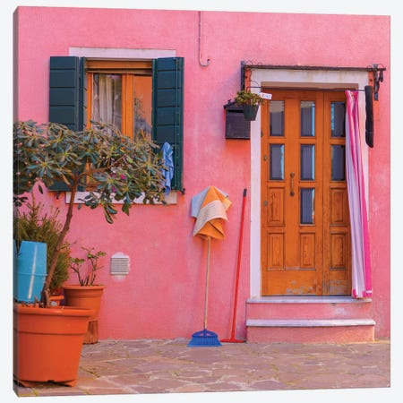 Burano, Italy, Pink House Canvas Print #PAU96} by Mark Paulda Canvas Art Print