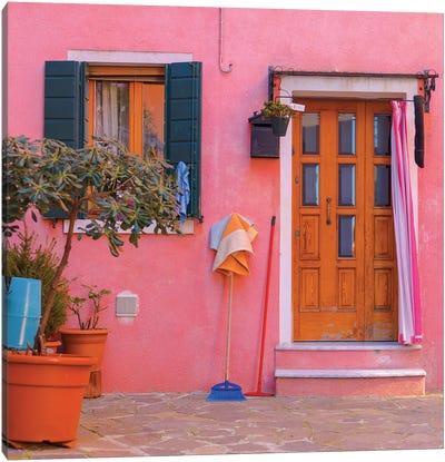 Burano, Italy, Pink House Canvas Art Print
