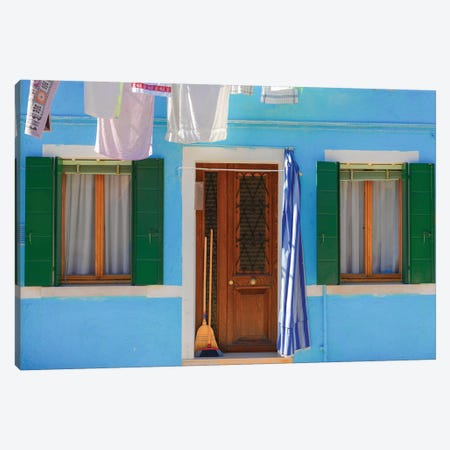 Burano, Italy, Blue House Canvas Print #PAU98} by Mark Paulda Canvas Artwork