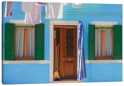Burano, Italy, Blue House Canvas Art Print