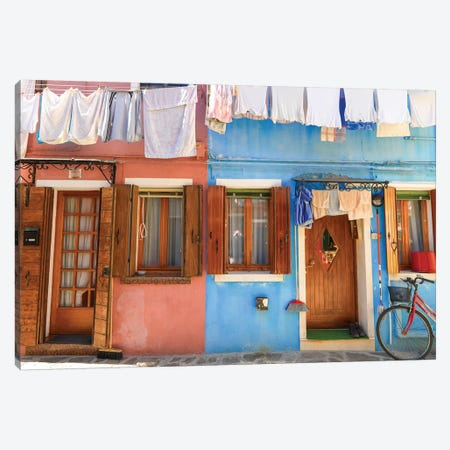 Burano, Italy, Laundry Day Canvas Print #PAU99} by Mark Paulda Canvas Artwork