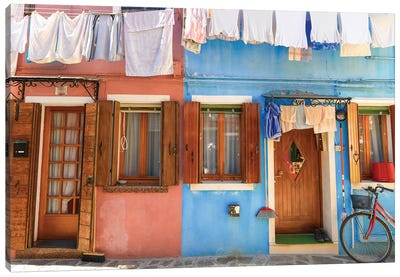 Burano, Italy, Laundry Day Canvas Art Print