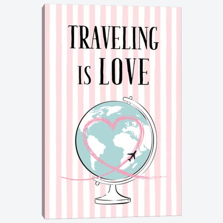 Traveling Is Love Canvas Print #PAV101} by Martina Pavlova Canvas Wall Art