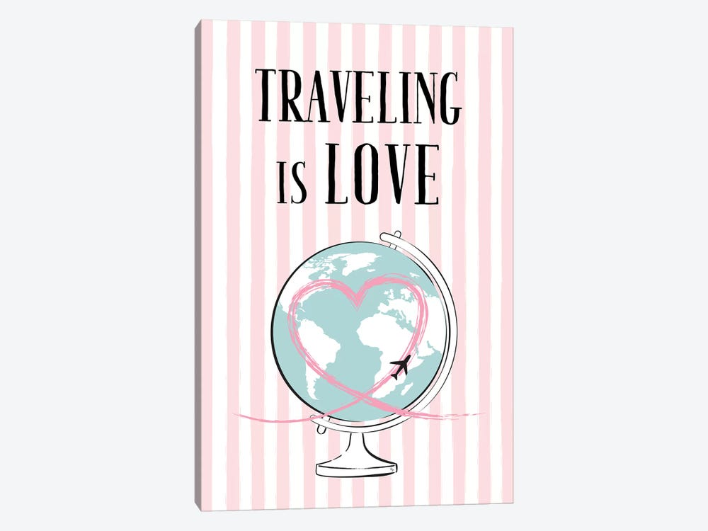 Traveling Is Love by Martina Pavlova 1-piece Canvas Artwork