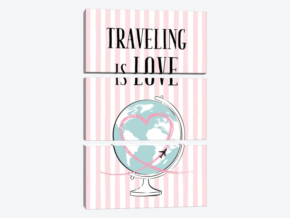 Traveling Is Love by Martina Pavlova 3-piece Canvas Art