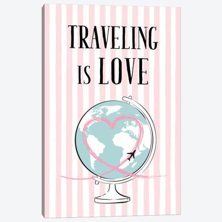 Traveling Is Love Canvas Print #PAV101} by Martina Pavlova Canvas Wall Art