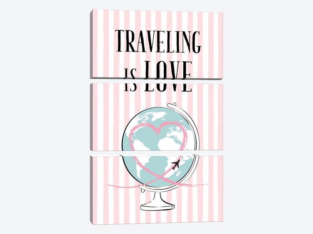 Traveling Is Love by Martina Pavlova 3-piece Canvas Art