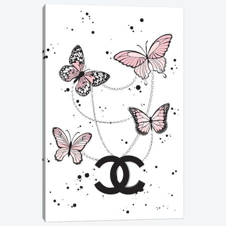 Chanel Butterflies II Canvas Print #PAV117} by Martina Pavlova Canvas Artwork