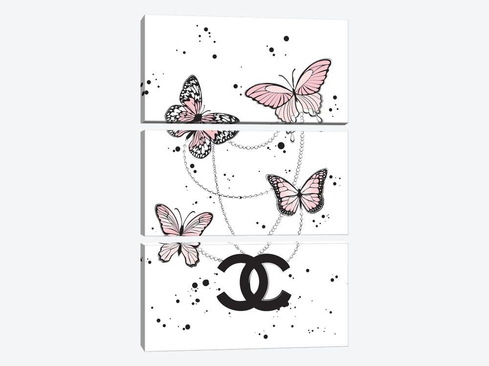 Chanel Butterflies II by Martina Pavlova 3-piece Art Print