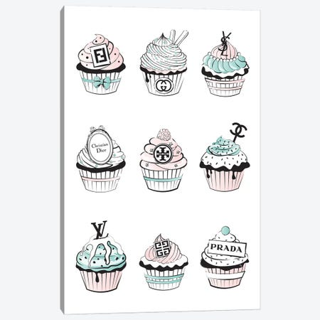 Designer Cupcakes  Canvas Print #PAV129} by Martina Pavlova Canvas Art