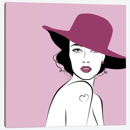 Hat Woman Canvas Print #PAV159} by Martina Pavlova Art Print