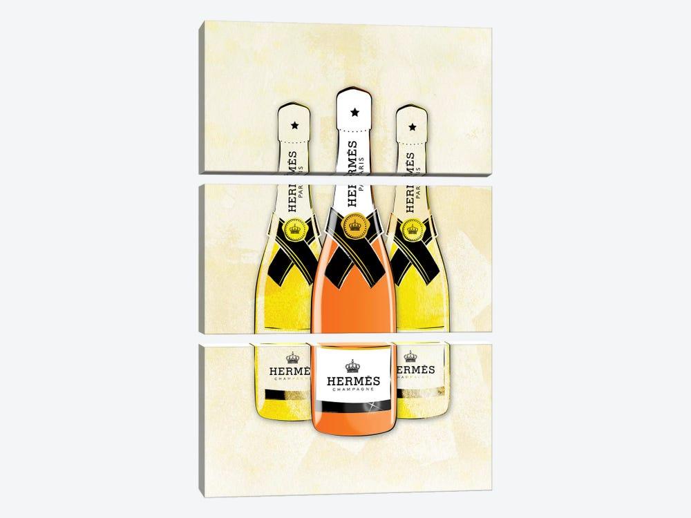 Hermes Champagne by Martina Pavlova 3-piece Canvas Artwork