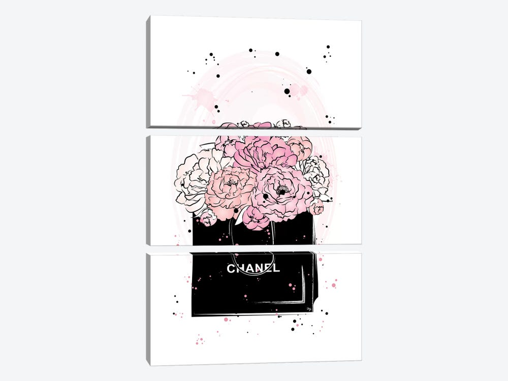Chanel Peonies by Martina Pavlova 3-piece Canvas Art